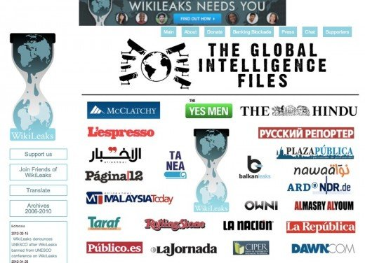 wikileaks 520x376 WikiLeaks starts publishing The Global Intelligence Files, with 25 media partners on board